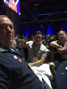 Josh How eating dinner at the ACLU conference 2018