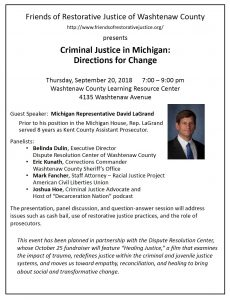 Flier from Joshua B. Hoe's speech about his criminal justice reform agenda at a Friends of Restorative Justice event in Ann Arbor, Michigan on September 20th, 2018