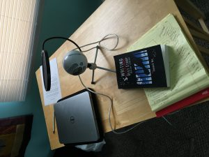 The original podcasting set up for Episode One of the Decarceration Nation podcast