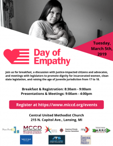 Flyer for the Day of Empathy Celebration in Michigan March 5 2019