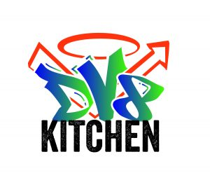 Logo of Dv8 Kitchen in Lexington Kentucky, Rob Perez the guest on Episode 58 is the owner of DV8 Kitchen