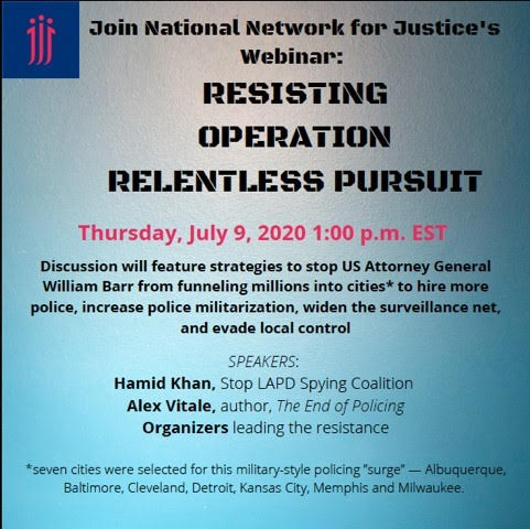 National Network for Justice Resisting Operation Relentless Pursuit Flyer