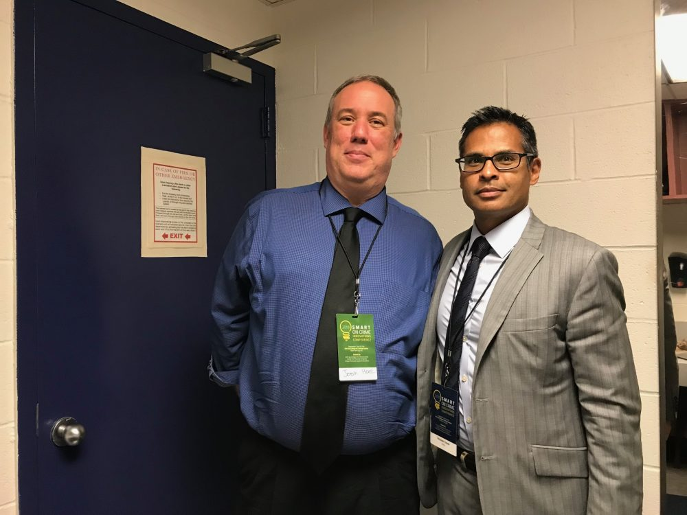 A picture of Josh Hoe with Nichilas Turner, President and Director of the Vera Institute of Justice taken after their interview at the 2019 Smart on Crime Innovatiosn conference in New York City