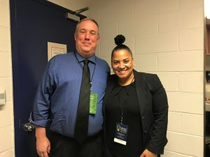 a picture of Josh with Racheal Rollins the progressive District Attorney on Suffolk County after their interview at the Smart On Crim Innovations Conference in NYC