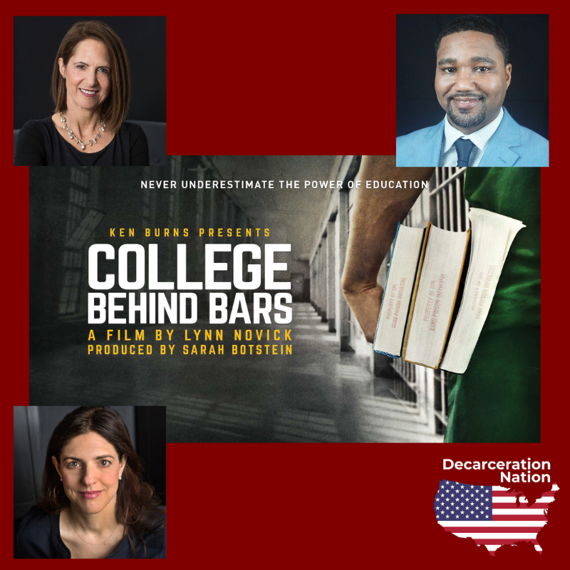 Pictures of Joshua Hoe's interview guests for episode 70 of the Decarceration Nation Podcast: Lynn Novick, Sarah Botstein, and Salih Israel
