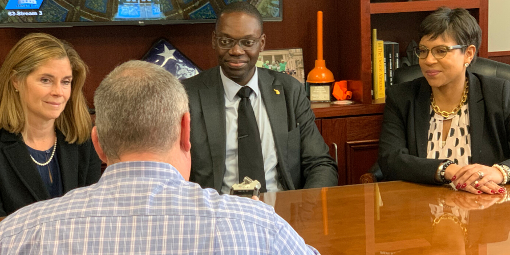 Joshua Hoe interviews Lieutenant Governor Garlin Gilchirst, Chief Justice Bridget McCormack, and State Senator Sylvia Santana