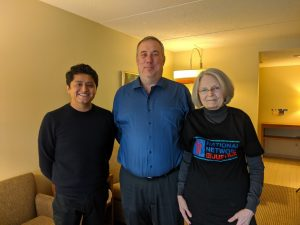 a picture of Joshua Hoe with Judith Greene and Oliver Marino after their podcast episode