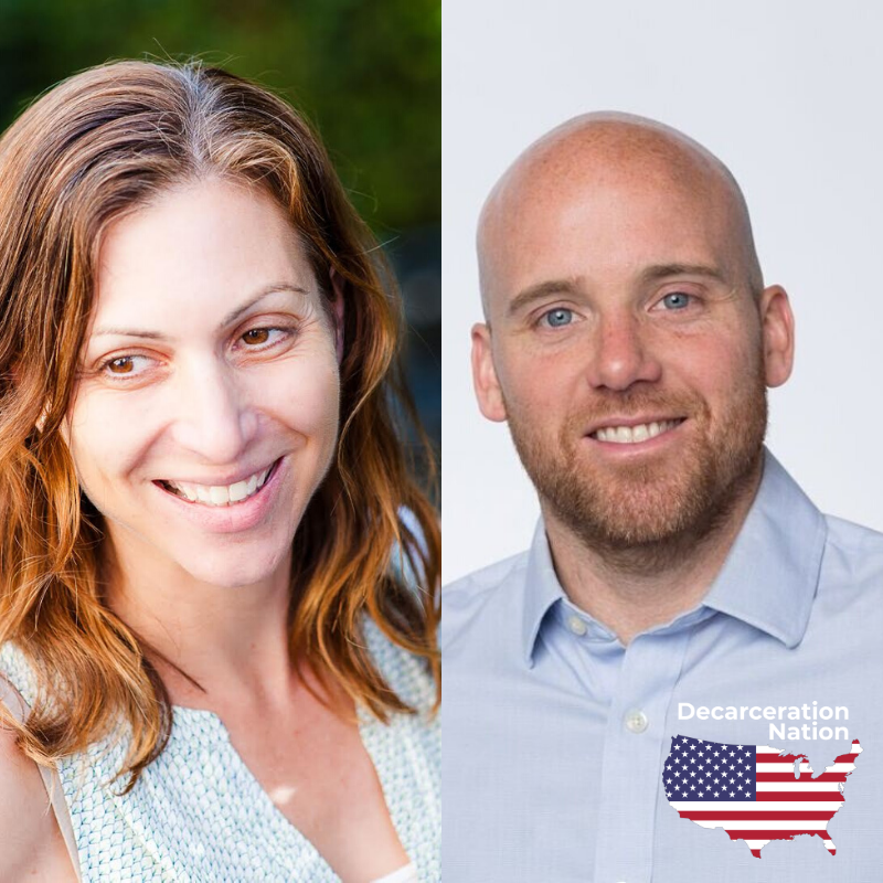 Picture of Lara Bazelon and Kyle Barry, Josh's guests on episode 79 of the Decarceration Nation Podcast