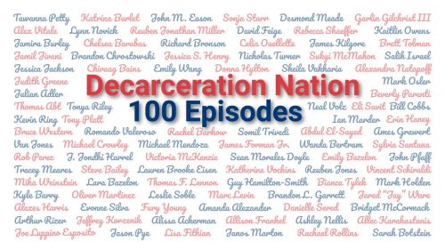 An Image listing all of the guests over the first 100 episodes of the Decarceration Nation Podcast