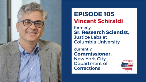 a picture of Vincent Schiraldi, Director of Corrections in New York City, and Joshua B. Hoe's guest for episode 105 of the Decarceration Nation Podcast