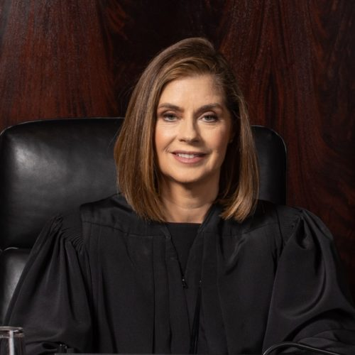 a picture of Bridget McCormack, Chief Justice of Michigan's Supreme Court and one of Joshua B. Hoe's guests during Episode 116 of the Decarceration Nation Podcast